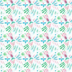 Native seamless floral pattern with pink flowers.