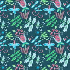 Seamless floral pattern with flowers. Ornamental ethnic motifs with fashion native rural design.