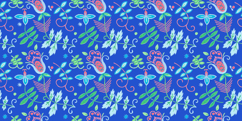 Seamless pattern with native flowers illustrations.