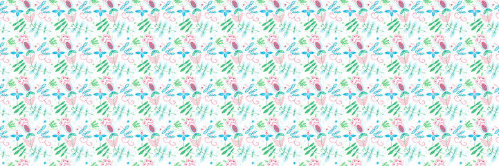 Seamless geometric pattern with floral native ornament.