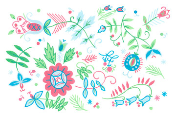 Abstract floral background with flowers. Seamless rustic pattern floral art. Gouache illustration of herbal flowers decor.