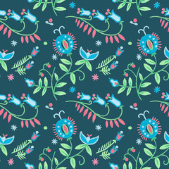 Seamless floral pattern. Ornamental ethnic  motifs with fashion primitive rural design.