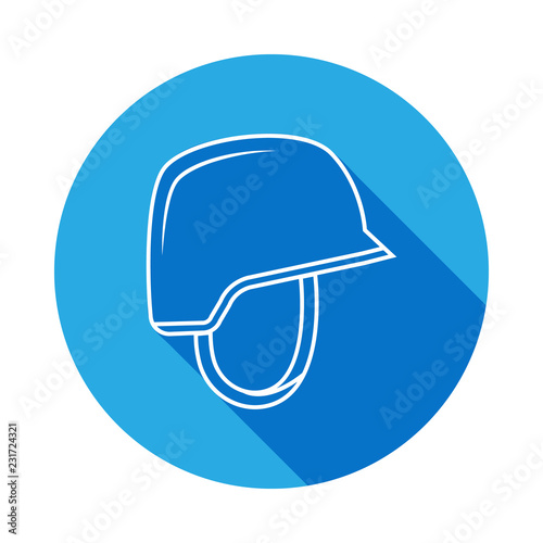 Soldier helmet line icon with long shadow  Element of