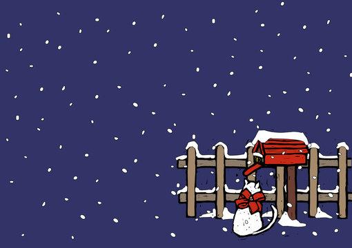 Cat sitting near a mailbox in snowfall