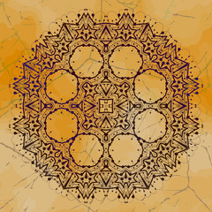 Grungy indian mandala. Henna colored tribal design mehndi inspired. Vintage element for flayer motif