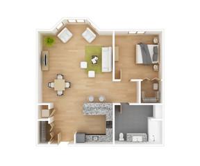 Floor plan 3D illustration