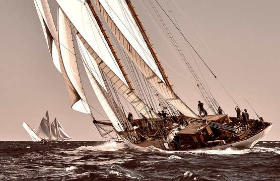 Sailing ship yacht race. Yachting. Sailing. Regatta. Classic sail yachts and sailboats