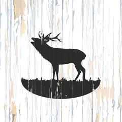 Roaring deer drawing on wood