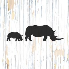 Vintage rhino icon