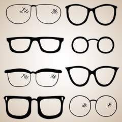 Vector Collection of Eye Antique and Modern Eye Glasses