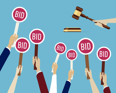 Auction concept: Hands holding paddle with bid