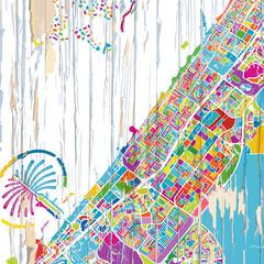 Colorful Dubai map