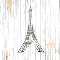 Eiffel tower drawing on wood
