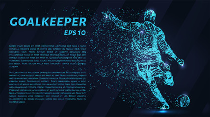 Soccer blue points of light. Goalkeeper knocks the ball from the gate.