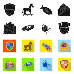 Isolated object of virus and secure logo. Collection of virus and cyber stock vector illustration.