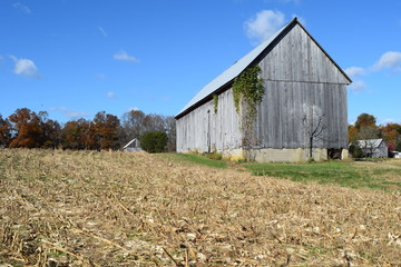 old farm barn field harvest