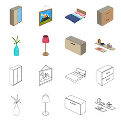Isolated object of bedroom and room symbol. Collection of bedroom and furniture stock vector illustration.