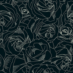 Roses bud outlines. Seamless pattern with flowers of roses. Hand-drawn romantic background. Style of sketch or doodle . Vector illustration, eps10. Template for textile, wrap paper, cover, poster.