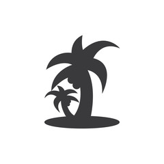 Tropical beach palms vector icon