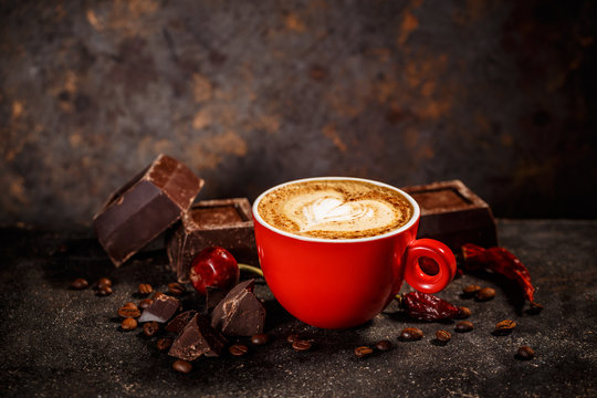 Chili and chocolate flavored coffee