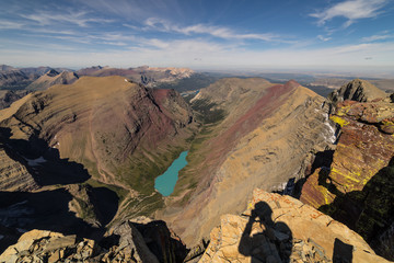Fototapete - Summit from Mt. Siyeh overlooking Cracker Lake.  Glacier National Park, Montana