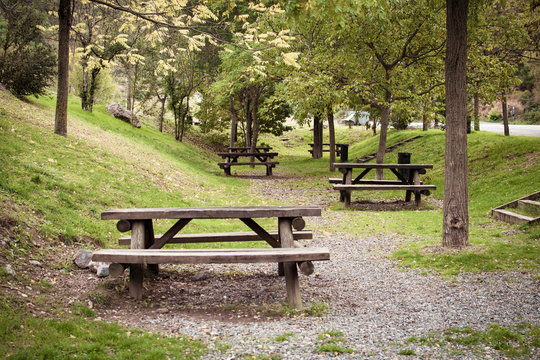Natural landscape with picnic area in nature