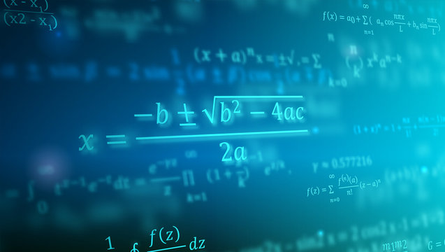 Mathematical formulas floating in perspective. Abstract background with Math equations. Vector 3D illustration. Symbol of study exact Sciences. Concept of calculation and search of various data.