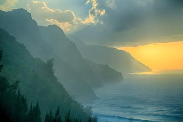 Na Pali Coast during sunset, Kauai island,  Hawaii