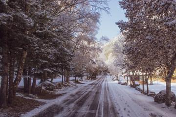 Highway that runs between a snowy landscape