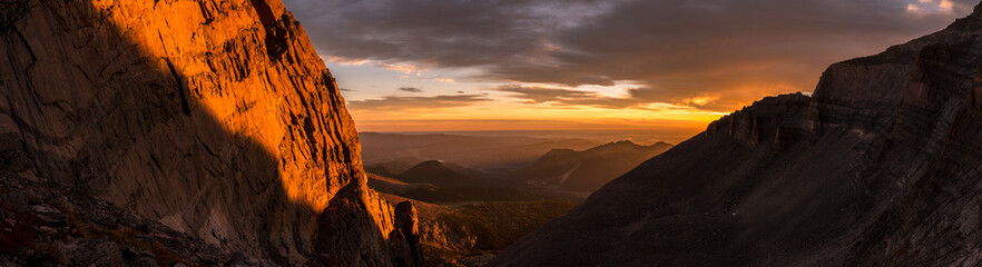 Sunrise Panorama in Rocky Mountain National Park, Colorado.  Photo taken during a climb of Longs Peak