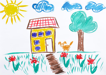 Colorful children painting of beautiful house on white background