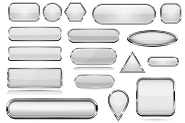 White glass 3d buttons with chrome frame. Collection