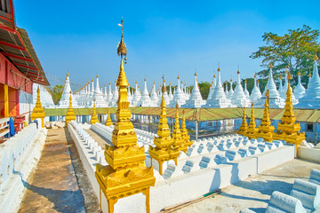 The old religion complex with restores stupas, Mandalay, Myanmar