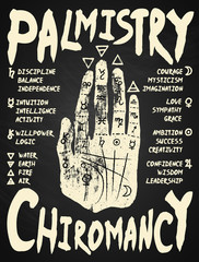 Palmistry, chiromancy - white on a blackboard background.