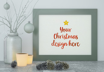 Frame with Holiday Décor Mockup