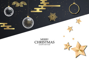 Black and white christmas background with golden snowflakes. Festive Christmas background with balls, stars