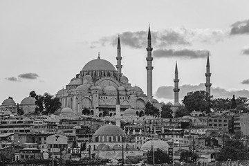 Black and white cityscape in Istanbul