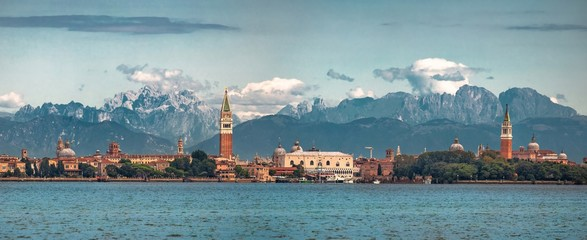 Italy beauty, unbelievable , San Marco with Dolomites behind, Venice, Venezia