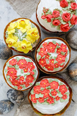 Easter cakes with painted eggs.