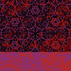 Stylized ornamental frame for design in black and violet color