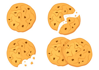 Set of chocolate oatmeal cookies. Vector illustration