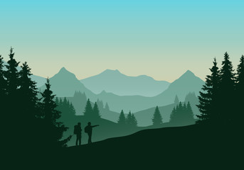 Vector illustration of a green landscape with coniferous forest with trees and two tourists, man and woman with backpacks. Hills and mountains with green blue sky with sunrise