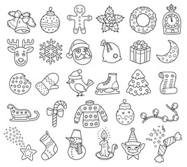 Holiday Christmas Kit With A Collection Of Outline Icons And Ilustrations For Creating Themes, Greeting Cards