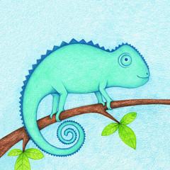 hands drawn picture of chameleon sitting on branch by the color pencils. Illustration of lizard for kids