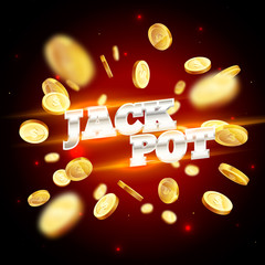 The silver word Jackpot, surrounded by attributes of gambling, on a coins explosion background. The new, best design of the luck banner, for gambling, casino, poker, slot, roulette or bone.