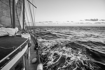 Black and white picture of an old sailing ship cruise.