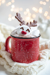 Canvas Prints Chocolate Hot chocolate with melted marshmallow snowman