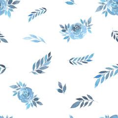 Floral nature elements plants blue seamless pattern watercolor