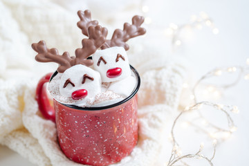 Printed roller blinds Chocolate Hot chocolate with melted marshmallow snowman