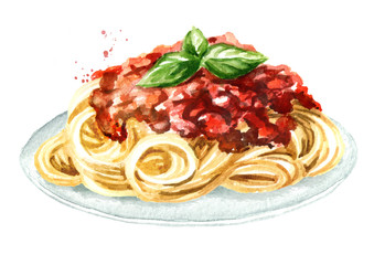 Spaghetti  with sauce bolognese. Watercolor hand drawn illustration isolated on white background